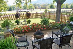 Traditional Deck with Trellis, Raised beds, Fire pit, Pathway, Fence