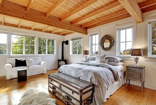 Eclectic Guest Bedroom with Restoration Hardware Mayfair Steamer Trunk Low Chest, High ceiling, Exposed beam, Hardwood floors