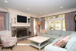 Traditional Living Room with Standard height, insert fireplace, Carpet, French doors, Fireplace, stone fireplace, can lights