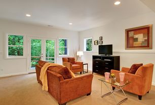 Contemporary Living Room with Carpet, French doors