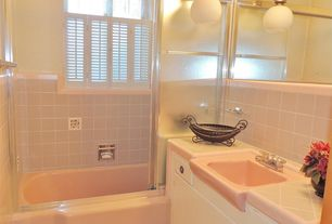 Traditional Full Bathroom with Inset cabinets, Fluence Sliding Bath Door with Cavata glass, Full Bath, Standard height