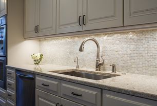 Traditional Kitchen with Ceramic Tile, Undermount sink, Mosaic tile backsplash, Complex granite counters, Flush, One-wall