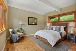 Contemporary Guest Bedroom with Hardwood floors, Exposed beam