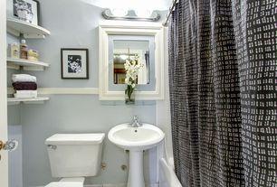 "Traditional Full Bathroom with Chair rail, tiled wall showerbath, Danya B Set of 2 Large Corner Shelves (11.5"")"