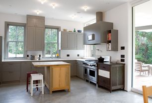 Modern Kitchen with Corian-Solid Surface Countertop in Venaro White, L-shaped, Paint1, Breakfast bar, Flat panel cabinets