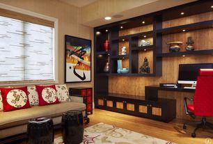 Asian Home Office with Mahogany Wood Paneling, Built-in bookshelf, Bamboo paneling, Hardwood floors, interior wallpaper
