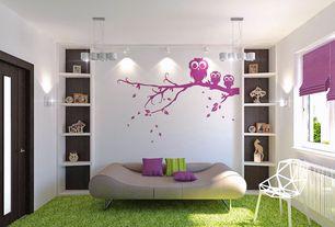 Contemporary Kids Bedroom with Pier one outdoor shag rug green, Built-in bookshelf, European creative chair geometric design
