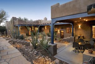 Eclectic Landscape/Yard with exterior stone floors, Pathway, Arizona Buff Flagstone Pavers, French doors