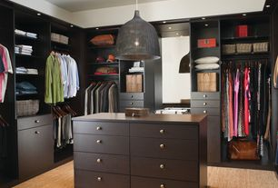 Contemporary Closet with Carpet, Pendant light, Walk-in Closet Custom Cabinetry, Painted rattan pendant lamp