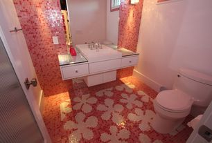 Contemporary Powder Room with European Cabinets, specialty door, Powder room, ceramic tile floors, Standard height, Flush