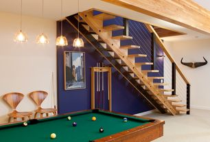 Contemporary Game Room with Standard height, Carpet, Exposed beam, Pendant light