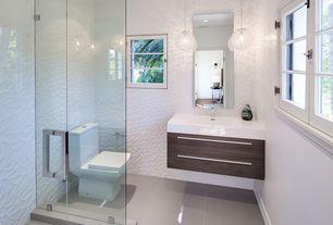 Modern 3/4 Bathroom with limestone tile floors, Milano Large Crystal Globe Pendant Ceiling Light, European Cabinets, Flush