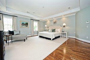Transitional Master Bedroom with Crown molding, Ren-Wil Arizone Sunburst Wall Mirror, Carpet, Hardwood floors