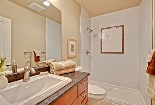 Traditional Full Bathroom with Simple granite counters, can lights, Shower, drop-in sink, full backsplash, Standard height