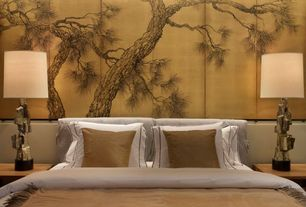 Asian Master Bedroom with Gold leaf cherry blossom silk screen, Paint