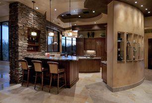 Contemporary Kitchen with Pendant light, Complex granite counters, U-shaped, Flat panel cabinets, Kitchen island, Flush