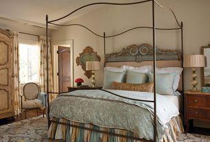 Traditional Master Bedroom with flat door, Hardwood floors, Casement, Standard height, Built-in bookshelf