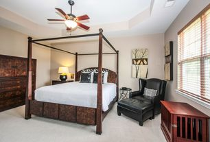 Contemporary Guest Bedroom with Ceiling fan, Carpet, Built-in bookshelf
