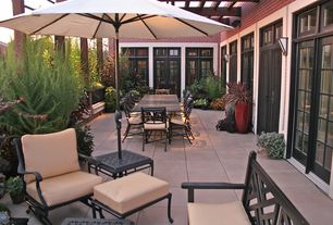 Traditional Patio with Trellis, Transom window, French doors, exterior tile floors