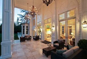 Traditional Porch with French doors, exterior terracotta tile floors, Screened porch, exterior tile floors