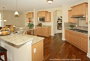 "Traditional Kitchen with 2-panel door, Arched doorway, Breakfast bar, Flush mount glass shade satin nickel 11"" light"