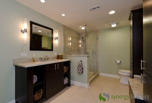 Contemporary 3/4 Bathroom with Flush, Simple granite counters, Wall sconce, flush light, European Cabinets, Undermount sink