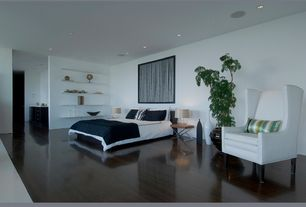 Modern Master Bedroom with Built-in bookshelf, Laminate floors