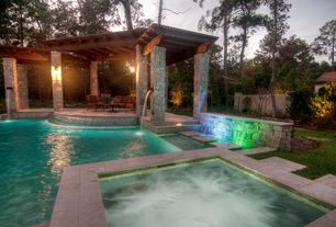 Traditional Swimming Pool with Waterfall feature, exterior stone floors, Pool with hot tub, Stacked stone column, Gazebo