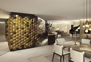 Contemporary Bar with Hardwood floors, Standard height, Columns, Pendant light