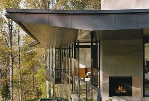 Contemporary Porch with Pond, Pathway, Transom window, Screened porch, French doors, exterior stone floors