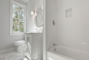 Traditional 3/4 Bathroom with Wall sconce, Flush, Progress Lighting Sconce Wall Light with White Glass in Chrome Finish