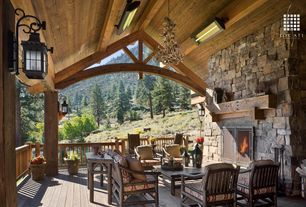 Rustic Porch with Wrap around porch, Deck Railing