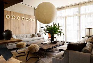 Contemporary Living Room with Noguchi ceiling lamo - 30a, Paper lantern, Pendant light, Crown molding, Wood paneling, Carpet