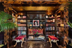 Eclectic Living Room with Columns, Built-in bookshelf, Herringbone hardwood floor, Bailey street castillo fabric bench