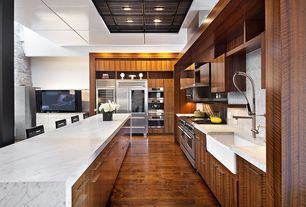 Contemporary Kitchen with Carrara marble, Flush, Delta 55c1513, Wine refrigerator, Kitchen island, L-shaped, Complex Marble