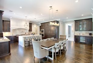 Traditional Kitchen with Pendant light, Chandelier, Custom hood, Hardwood floors, Armstrong Flooring - Oak in Rio Grande