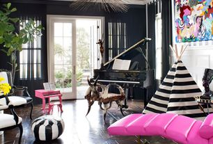 Eclectic Living Room with Gilda Leather Lounge Chair, Striped Kids Teepee, Living Room Furniture Chaise Lounge Day Bed