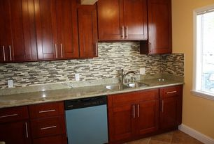 "Contemporary Kitchen with travertine tile floors, 4"" stainless bar pull, Stainless undermount 2-basin sink, One-wall"