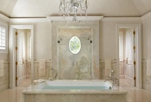 Traditional Master Bathroom with Louvered door, Signature Hardware Tall Deck Mount Telephone Tub Faucet, High ceiling