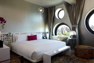 Art Deco Master Bedroom with Carpet, specialty window, Pendant light, Standard height, Exposed beam