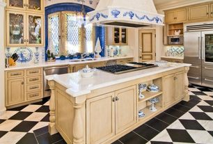 Traditional Kitchen with Glass panel, specialty door, slate tile floors, Absolute Black Granite 18x18 Polished, Pendant light