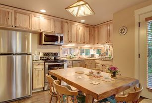 Country Kitchen with Undermount sink, Flat panel cabinets, French doors, L-shaped, Complex Granite, Flush, Breakfast nook