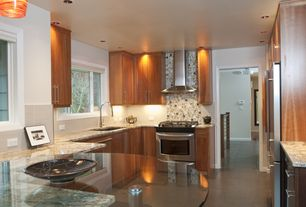 "Modern Kitchen with 30"" Wall Range Hood (TRHSBK-30), limestone tile floors, U-shaped, European Cabinets, Specialty Tile"