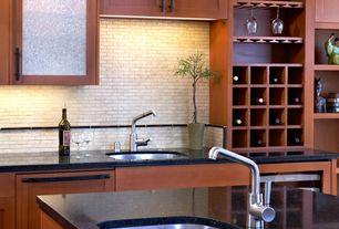 Contemporary Kitchen with Subway Tile, Glass panel, Quartz countertop in midnight reflection, Undermount sink, One-wall