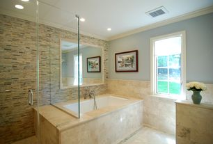Contemporary Master Bathroom with Tilestime Crema Marfil, Emerador Dark Marble, Glass Mosaic Tile, Master bathroom