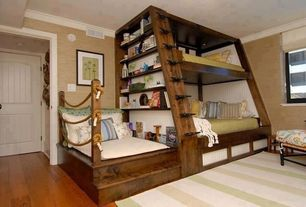 Contemporary Kids Bedroom with Chenille mustard texture wallpaper, Engineered click hardwood flooring, Bunk beds