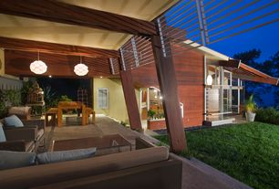 Contemporary Porch with Screened porch, Pathway, exterior stone floors, French doors