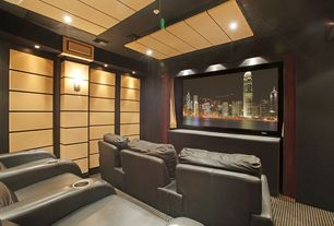 Contemporary Home Theater with Wall sconce, Carpet