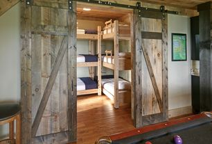 Rustic Kids Bedroom with Interior barn doors, Triple bunk beds, Rustica hardware z barn door