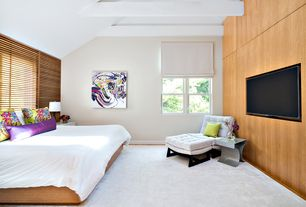 Contemporary Master Bedroom with High ceiling, double-hung window, Exposed beam, Hardwood floors
